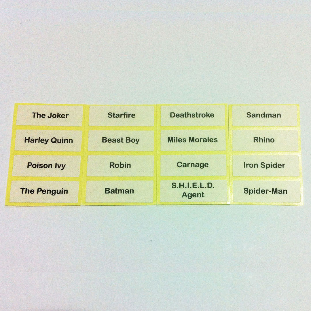 Printed Label for LEGO Minifigures Super Heroes Series 76034 76035 76036 76037